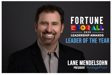 Lane Mendelsohn, President of Vantagepoint AI, named Leader of the Year.