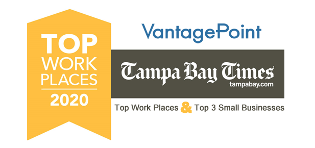 Tampa Bay Times names Vantagepoint a Top Work Place and Top 3 Small Business Workplaces