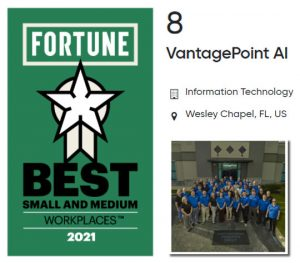 Fortune magazine names Vantagepoint AI #8 of the top 100 small businesses in the U.S.